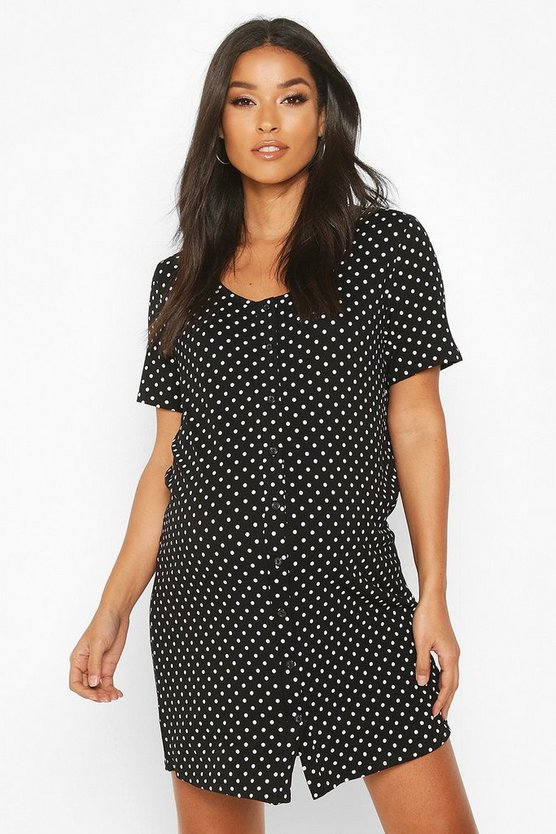 Womens Black Maternity Polka Dot Button Front Nightie