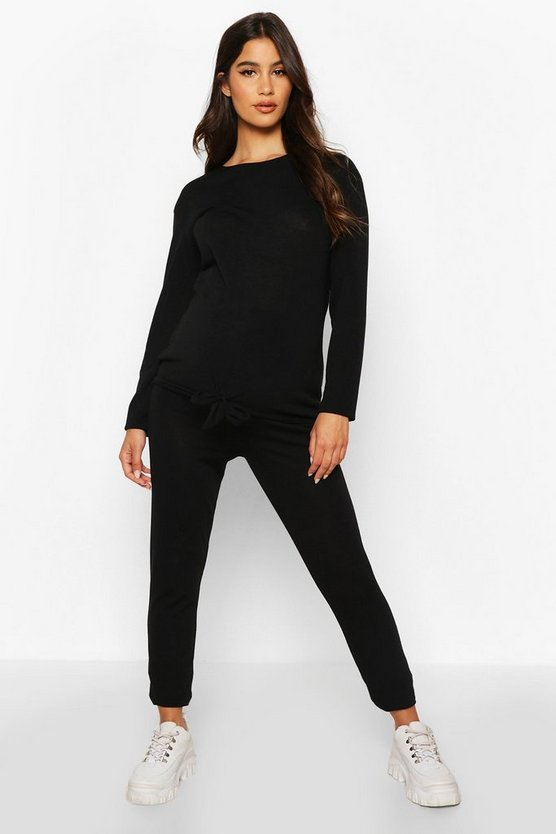 Black Maternity Tie Front Legging Lounge Set