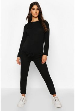 Womens Black Maternity Tie Front Legging Lounge Set