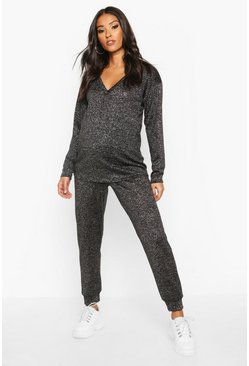 Womens Black Maternity V-Neck Shimmer Lounge Set