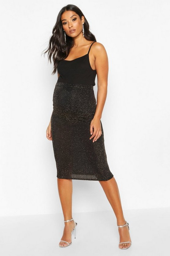Gold Maternity Shimmer Midi Skirt