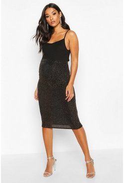 Womens Gold Maternity Shimmer Midi Skirt