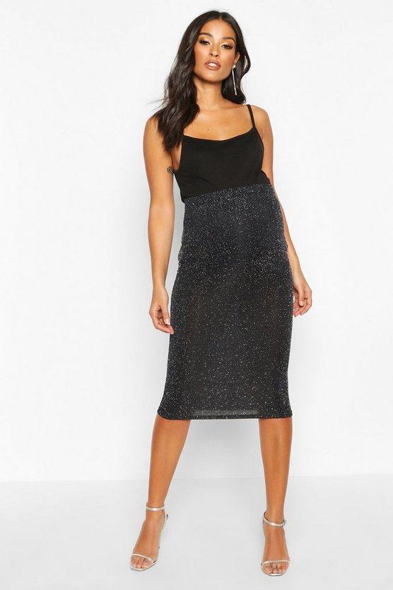 Maternity Shimmer Midi Skirt