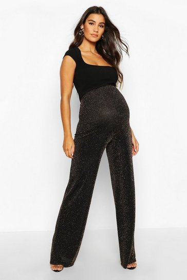 Womens Gold Maternity Shimmer Wide Leg Trousers