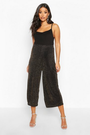 Womens Gold Maternity Shimmer Culotte Trouser