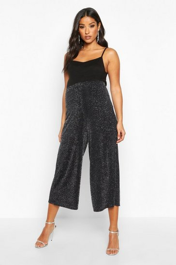 Silver Maternity Shimmer Culotte Trouser