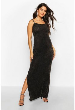Gold Maternity Shimmer Side Split Maxi Dress