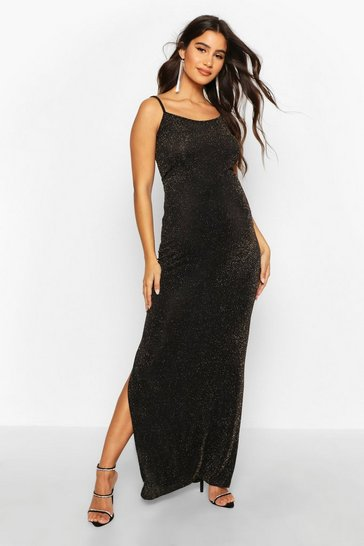 Womens Gold Maternity Shimmer Side Split Maxi Dress