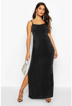 Silver Maternity Shimmer Side Split Maxi Dress