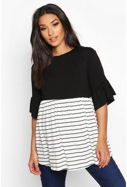 Womens Black Maternity Contrast Stripe Smock Top