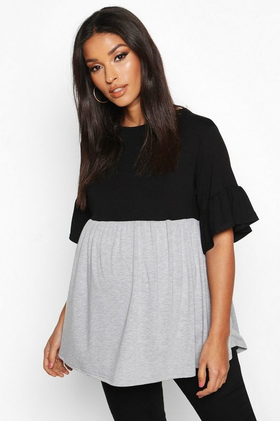 Grey Maternity Contrast Smock Top