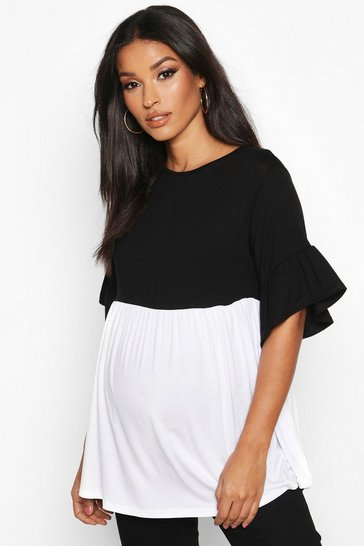 Womens White Maternity Contrast Smock Top