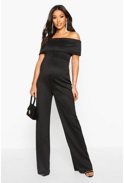 Womens Black Maternity Bardot Wide Leg Jumpsuit