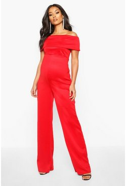 Red Maternity Bardot Wide Leg Jumpsuit
