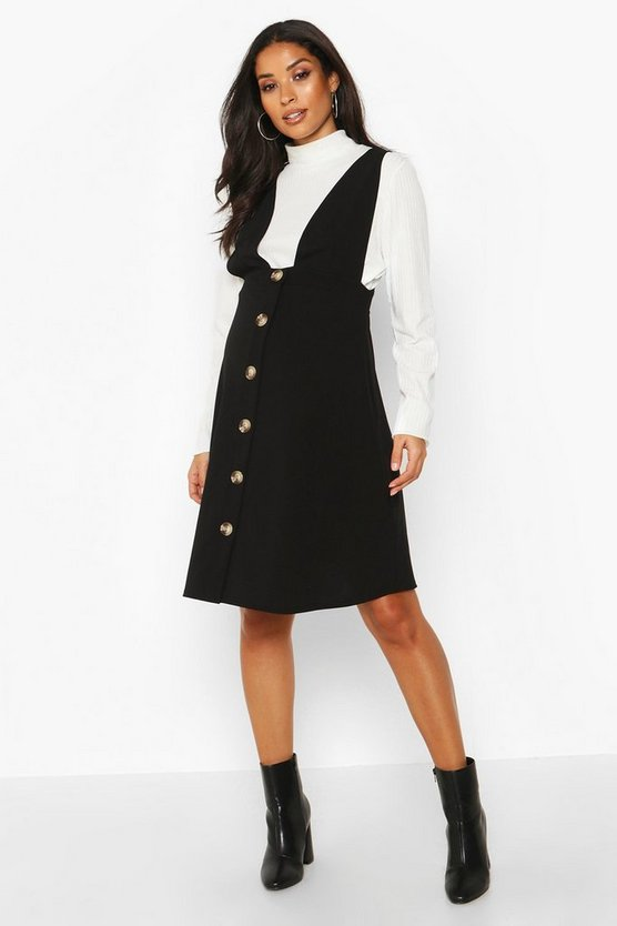 Black Maternity Button Front Pinafore Dress