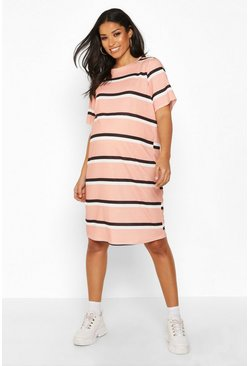 Womens Dusky pink Maternity Stripe T-Shirt Dress