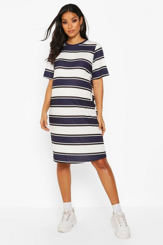 Navy Maternity Stripe T-Shirt Dress