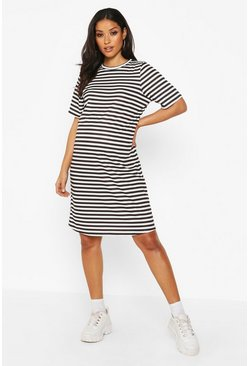 Womens Black Maternity Ringer Stripe T-Shirt Dress