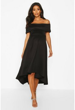 Womens Black Maternity Bardot Skater Dress
