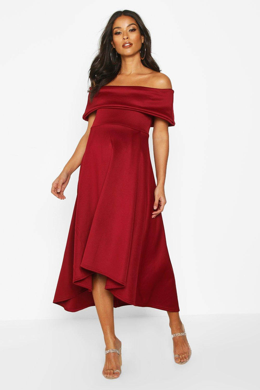 Vintage Style Maternity Clothes Womens Maternity Bardot Skater Dress - red - 6 $42.00 AT vintagedancer.com