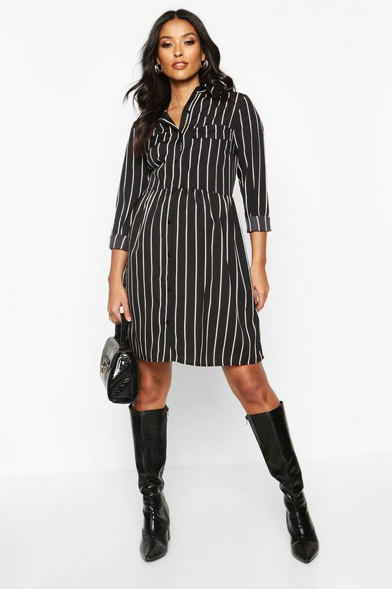 Black Maternity Woven Stripe Smock Shirt Dress
