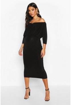 Black Maternity Bardot Drape Midi Bodycon Dress