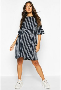 Womens Navy Maternity Stripe Woven Smock Dress