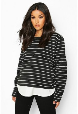 Womens Black Maternity Stripe 2 In 1 Raw Edge Top