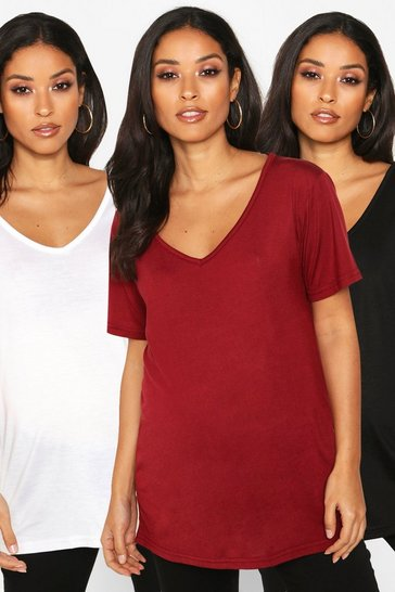 Womens Multi Maternity 3 Pack Ultimate V-Neck T-Shirt