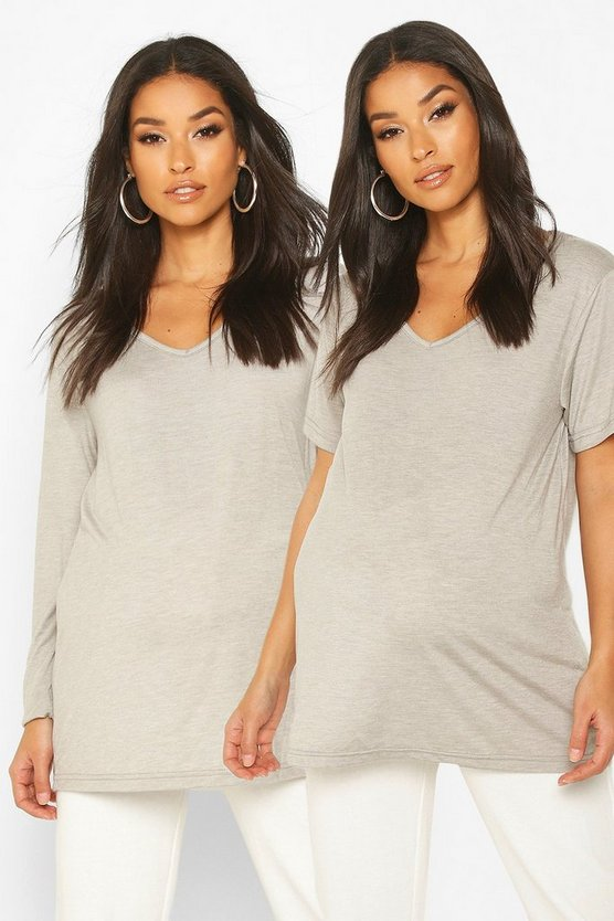 Womens Grey marl Maternity 2 Pack Long Sleeve + Short Sleeve T-Shirt