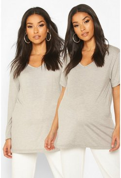 Dam Grey marl Maternity 2 Pack Long Sleeve + Short Sleeve T-Shirt