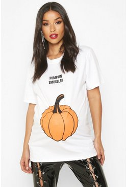 White Maternity 'Pumpkin Smuggler' Halloween T-Shirt