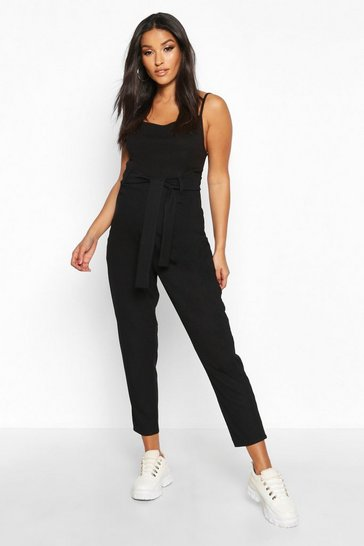 Womens Black Maternity Ribbed Over The Bump Tapered Trouser