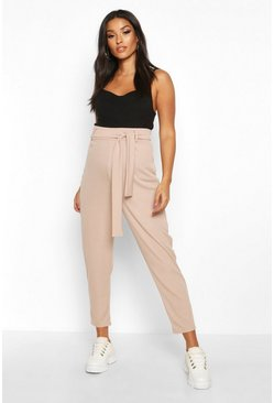 Stone Maternity Ribbed Over The Bump Tapered Trouser