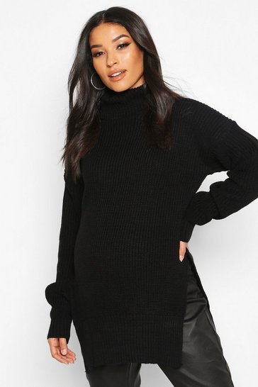 Womens Black Maternity Roll Neck Side Split Nursing Jumper