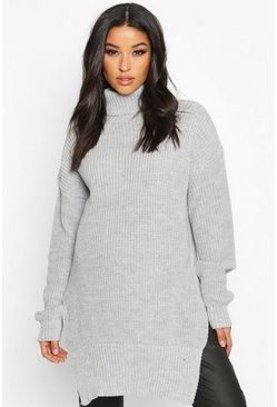 Womens Light grey Maternity Roll Neck Side Split Nursing Jumper