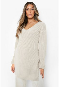 Womens Stone Maternity V-Neck Side Split Jumper