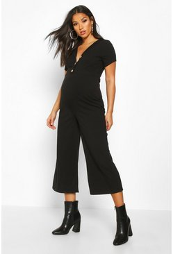 Womens Black Maternity Button Front Rib Cullotte Jumpsuit