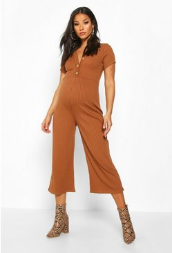 Camel Maternity Button Front Rib Cullotte Jumpsuit