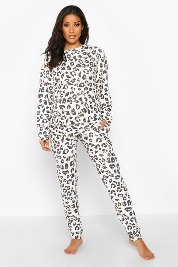 Womens Ivory Maternity Super Soft Leopard Lounge Set