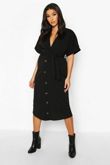 Womens Black Maternity Belted Button Down Midi Dress