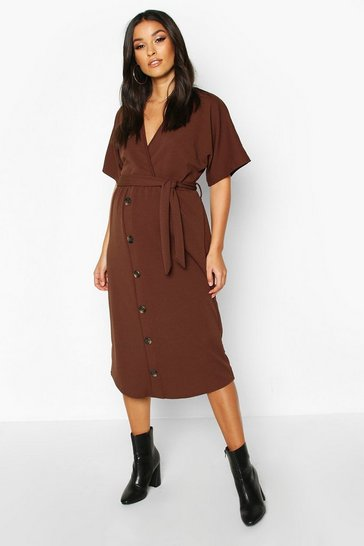 Womens Chocolate Maternity Belted Button Down Midi Dress