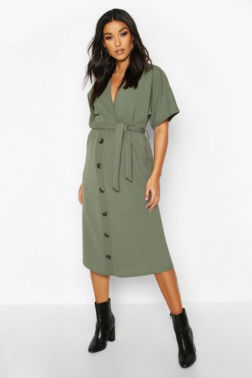 Womens Khaki Maternity Belted Button Down Midi Dress