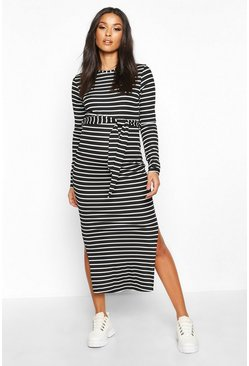 Womens Black Maternity Stripe Midaxi Dress