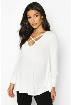 White Maternity Long Sleeved Cross Strap Swing Top