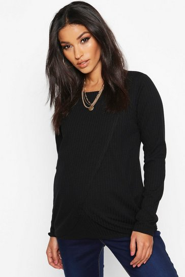 Womens Black Maternity Nursing Long Sleeve Rib T-Shirt