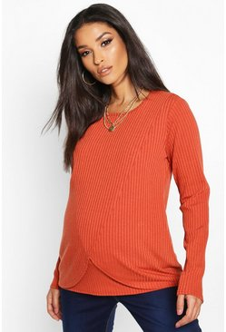 Rust Maternity Nursing Long Sleeve Rib T-Shirt