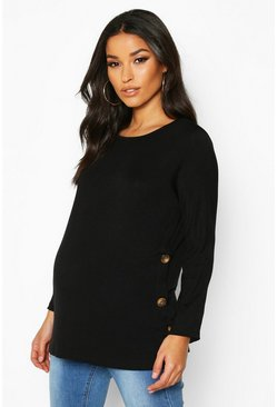 Black Maternity Button Detail Nursing T-Shirt