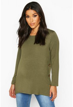 Khaki Maternity Button Detail Nursing T-Shirt