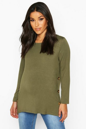 Womens Khaki Maternity Button Detail Nursing T-Shirt